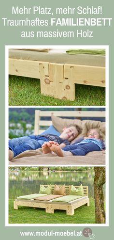 Du liebst das Familienbett brauchst aber auch Platz und erholsamen Schlaf? Mach keine Kompromisse! Unser herrliches, metallfreies Bett aus dem Holz von Zirbe, Fichte, Kiefer oder Eiche massiv gibt es in phänomenalen 33 Bettbreiten für alle Bedürfnisse und selbst kleine Schlafzimmer. Auch Bettgitter als Rausfallschutz lassen sich kinderleicht und stabil anbringen. Jetzt gleich online konfigurieren und Angebot anfragen! #mmw #familienbett #bindungsorientiert #holzbett 2 Kind, Outdoor Furniture, Outdoor Decor, Bench, Drupal, Table, Blog, Home Decor, Family Bed Photos