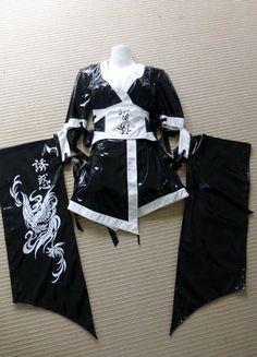 Lip Service Kimono Geisha Lackkleid cyber gothic