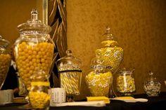 Candy Jars- black & white and yellow wedding