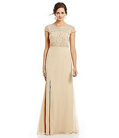Adrianna Papell Cap Sleeve Beaded Bodice Gown
