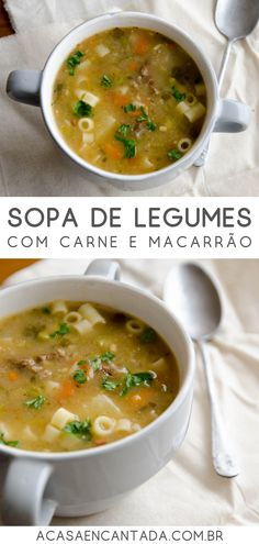 How to make vegetable soup: simple recipe for vegetable soup in the pressure cooker, with meat and n Vegetable Soup Recipes, Slow Cooker Soup, Homemade Soup, Easy Cooking, Food Inspiration, Easy Meals, Food And Drink, Healthy Recipes, Ethnic Recipes