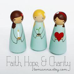 Faith, Hope, and Charity -- Hand-painted Peg Dolls. $29.00, via Etsy.