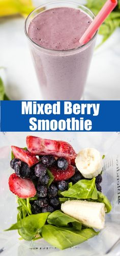Mixed Berry Smoothie - A quick, healthy, and easy on-the-go breakfast idea! Mixed Berry Smoothie, Berry Smoothie Recipe, Best Smoothie Recipes, Healthy Smoothies, Healthy Recipes, Drinks Alcohol Recipes, Yummy Drinks, Delicious Desserts, Yummy Food