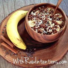 Breakfast Bowl: Banana Almond Crumble...3 bananas 1.5 TBSP raw carob powder 1 cup ice 3 Medjool dates 1/2 TSP cinnamon 1 TBSP whole raw walnuts 2 TBSP whole raw almonds 1 TSP raw cocoa nibs 1 TSP raw shredded coconut