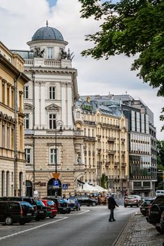 A view on the northern frontage of the Plac Trzech Krzyzy (Three Crosses Square), Warsaw, Poland