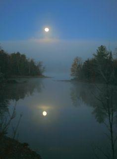 Harvest Moon Through The Mist, Over Loon Lake, Adirondacks.