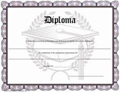 A distinctive printable diploma with a grey border and a graduation cap…