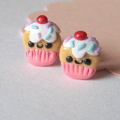 Kawaii Cupcake Earrings  Miniature Food by PitterPatterPolymer