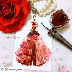 """#Repost @artclaytion with @repostapp. @marchesafashion in Red. Mixed media on postcard , Feb 2016. #nyfw16 #nyfw #marchesa #fashionillustration…"""
