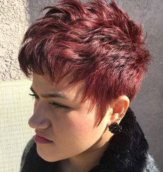 Short Burgundy Pixie