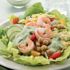 Green Goddess Salad This gorgeous salad combines fresh shrimp, cucumber, artichoke hearts and cherry tomatoes with homemade green goddess dressing. The dressing is beautifully green and creamy with avocado (loaded with good-for-you fats) and fresh herbs. Healthy Salad Recipes, Lunch Recipes, Soup Recipes, Diet Recipes, Healthy Snacks, Healthy Eating, Cooking Recipes, Avocado Recipes, Salmon Recipes