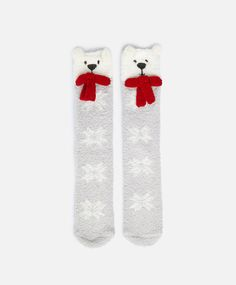 Bear socks, null£ - null - Find more trends in women fashion at Oysho . Slipper Socks, Slippers, Cosy Socks, Baby Girl Socks, Holiday Socks, Christmas Baby, Christmas Ideas, Quirky Fashion, Sock Animals