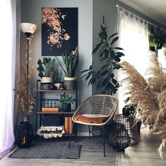Boho Room, Boho Living Room, Home And Living, Earthy Living Room, Living Room With Plants, Plants In Bedroom, Cozy Eclectic Living Room, Small Living, Dark Living Rooms