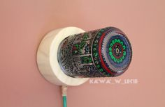 #Colorful #lamp by #kawa_w_lesie 🌿 #home_decor #decor #home_ideas #diy_lamp #jar_lamp #jar_diy #buy_me #pattern #water_paints #design #eco #upcycling #handmade #gift #unique_gift #manufacture #made_in_poland #etsy #jar #for_home #diy #art