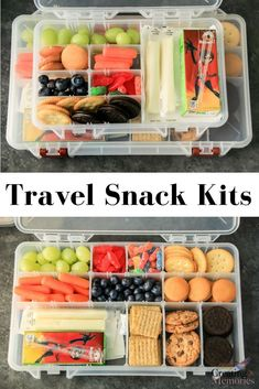 [AD] Make traveling easier! Try these easy DIY road trip snack box kit ideas for. [AD] Make traveling easier! Try these easy DIY road trip snack box kit ideas for kids, toddlers, te Snacks Road Trip, Road Trip Activities, Road Trip Meals, Vacation Snacks, Camping Snacks, Snacks For The Road, Tent Camping, Travel Snacks Kids, Car Activities For Toddlers