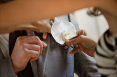 A big white orchid boutonniere. Hoffmann Photographer.