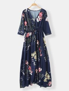 Bohemian Floral Random Print V-neck Sleeve Buttons Maxi Dress - Power Day Sale Floral Sleeve, Fashion Colours, Spring Fashion, Bohemian, V Neck, Seasons, Casual, Sleeves, Color