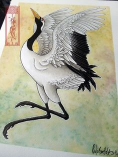 Japanese Crane Dancing Art by Paulo Barbosa - Ariuken Art on Facebook