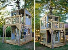 Two-Story Treehouse from both sides The girls need something like this! I'd play in it too!