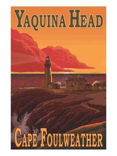 Vintage Travel Poster - USA - Oregon - Yakina Head Lighthouse, Newport