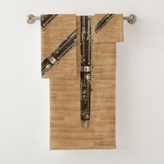 Bassoon Ensemble on Wood Grain Look Bath Towel Set - diy cyo customize create your own personalize