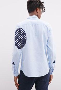 ef89e51205eca 21men 21 MEN Ad-Lib Dot-Paneled Oxford Shirt - ShopStyle Longsleeve