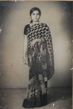 Vintage Classic Beautiful Women | Beautiful Indian Lady in Sari - Full Standing Vintage Photograph 1950 ...