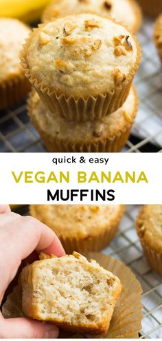 Quick & Easy Vegan Banana Muffins, made in just 1 bowl! SO fluffy and moist. Quick & Easy Vegan Banana Muffins, made in just 1 bowl! SO fluffy and moist. Vegan Treats, Vegan Foods, Vegan Dishes, Vegan Banana Muffins, Chocolate Chip Muffins, Chocolate Chips, Vegan Banana Cupcake Recipe, Banana Cake Vegan, Banana Cupcakes