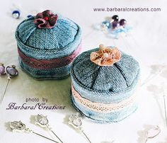 Barbaral Creations Recycled jeans pincushion with hand dyed lace. Recycle Jeans, Reuse Recycle, Recycling, Lace Jeans, Pin Cushions, Denim, Sewing, Products, Dressmaking