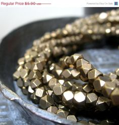 Storewide Sale Antique Brass Spacers  Faceted Metal by starbazaar, $5.61