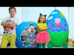 Max and Katy pretend play with Giant surprise eggs Giant Surprise Egg, Youtube, Pretend Play, Paw Patrol, Birthdays, Eggs, Floating Shelves, Boots, Disney