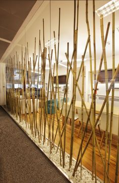 Partition made of Bamboo Poles - From Turkcell Maltepe Plaza by mimaristudio | #InteriorDesign…