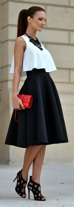 #street #style #blackandwhite #spring #inspiration |Double Volume Top and Skirt | My Silk Fairytale