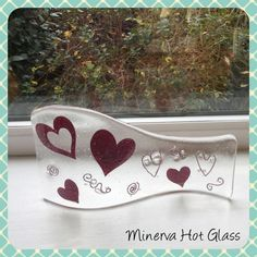 Heart Fused Glass Curved Art Glass Art Wave by MinervaHotGlass