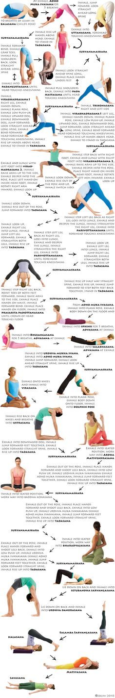 Flow Yoga - I like how this chart breaks down when to breathe and transition. A great routine before going to sleep