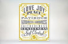 8x10 art print - Fruit of the Spirit - Gold & Grey Typography Poster Print - Galatians Scripture Bible Verse via Etsy