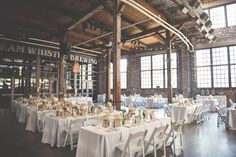 guests per table A Vintage Wedding At Steam Whistle Brewery - Wedding Decor Toronto Rachel A. Wedding Venues Toronto, Wedding Reception Venues, Best Wedding Venues, Wedding Events, Wedding Decor, Wedding Ideas, Weddings, Loft Wedding, Warehouse Wedding