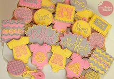 Pink, yellow, and gray baby shower cookies