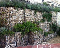 gabion retaining wall terraced.