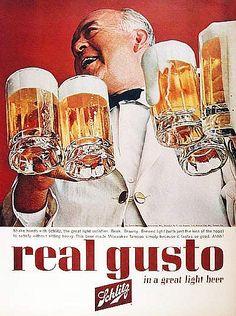1961 Schlitz Beer Real Gusto Waiter Ad - Adaholic