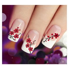 CHERRY BLOSSOMS Nail Art (CBR) 45 Red Waterslide Transfer Decal... ❤ liked on Polyvore featuring beauty products, nail care, nail treatments, nails, beauty and makeup