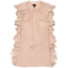 Giambattista Valli Ruffle-trimmed silk-georgette blouse (910 CAD) ❤ liked on Polyvore featuring tops, blouses, shirts, light pink, light pink top, tie neck blouse, loose shirt, shirt blouse and light pink blouse