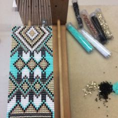Tribal Blanket Bead Loom Bracelet Bohemian Boho Chic Gifts for Native American Beading, Native American Fashion, Bead Loom Patterns, Beading Patterns, Bead Loom Bracelets, Loom Beading, Artisanal, Bead Weaving, Artisan Jewelry