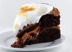 S'mores, a fave camping treat as a cake - chocolate, graham and marshmallows.