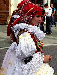 folk costume from Hána or Hanácko, ethnic region in central Moravia in the Czech Republic. Folk Costume, Historical Costume, Ethnic Fashion, World Cultures, Beautiful Patterns, Traditional Dresses, Beautiful People, Celebrity Style, Czech Republic