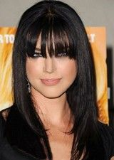 Cheerful Black Long Straight With Bangs Remy Hair Wig
