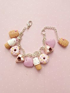 Cookie Bracelet - Donut Bracelet - Food Jewelry - Valentines Day Gift Idea - Cookie Charm Bracelet f # food Gift Ideas Cookie Bracelet - Donut Bracelet - Food Jewelry - Mothers Day Gift Ideas - Cookie Charm Bracelet for Girls - Summer Gifts Polymer Clay Bracelet, Cute Polymer Clay, Polymer Clay Charms, Charm Bracelets For Girls, Girls Jewelry, Cute Jewelry, Gifts For Wife, Girl Gifts, Mother Day Gifts