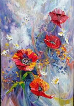 Gesso For Oil Painting Simple Oil Painting, Oil Painting On Canvas, Painting & Drawing, Abstract Flowers, Watercolor Flowers, Watercolor Art, Poppy Flower Painting, Flower Art, Domino Art