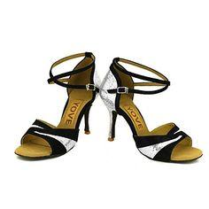ac3d0ebd5ac Obyčejné-Dámské-Taneční boty-Latina Slasa-Třpytky-Na zakázku-Černá