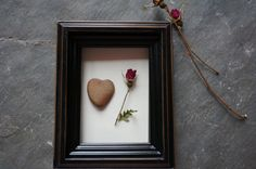 ROSE AND a natural stone HEART - real dried rose, love gift, miniature rose, valentine gift, shadow box, wife gift, girlfriend gift